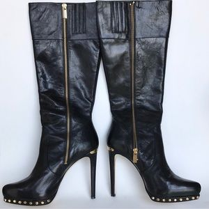 Michael Michael Kors black leather knee high boots